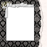 Damask frame with satin bow Royalty Free Stock Image