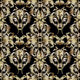 Damask gold ornaments with scroll baroque flowers Stock Image