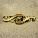 Damask with golden Banner Stock Images