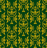 Damask green. Vector seamless green damask pattern with golden ornaments Royalty Free Stock Photos