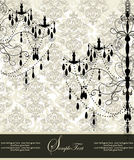 Damask invitation card with chandelier Royalty Free Stock Image