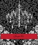Damask invitation card with chandelier Royalty Free Stock Photo