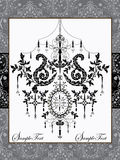 Damask invitation card with chandelier Stock Images