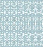 Damask light blue. Vector seamless damask pattern in blue color scheme Royalty Free Stock Photo