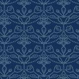 Damask motif sashiko stitch pattern. Japanese needlework seamless vector background. Hand drawn line texture for textile print. Damask sashiko stitch pattern vector illustration