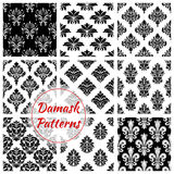 Damask ornament seamless patterns vector set. Floral Damask seamless patterns of vector flowery tracery and flourish ornate adornment. Royal luxury ornamental stock illustration