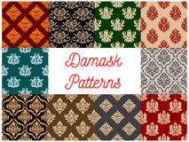 Damask ornament seamless vector patterns set. Floral Damask patterns. Vector seamless set of flowery tracery and flourish ornate adornment of royal luxury Royalty Free Stock Images