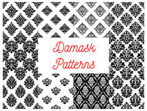Damask ornate seamless patterns set. Damask patterns. Vector ornate floral motif for drapery and tracery luxury backdrops. Flowery ornate ornament tiles. Vector Royalty Free Stock Photography