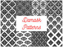 Damask ornate tracery seamless patterns set. Damask patterns set. Vector floral embellishment and tracery motif. Luxury flowery backdrops and ornate ornament Stock Photography
