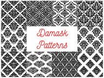 Damask ornate tracery seamless patterns set Stock Photography