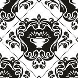 Damask pattern. Black and white floral damask wallpaper pattern Royalty Free Stock Photography