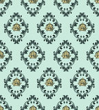 Damask pattern with crown Stock Photography