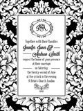 Damask pattern design for wedding invitation in black and white. Brocade royal frame and exquisite monogram.  Royalty Free Stock Photos