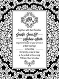 Damask pattern design for wedding invitation in black and white. Brocade royal frame and exquisite monogram.  Royalty Free Stock Images