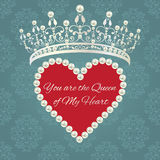 Damask pattern with tiara, heart of pearls with sample text Royalty Free Stock Photography