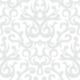 Damask pattern in white and silver Stock Photo