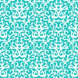 Damask pattern in white on turquoise stock illustration