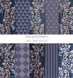 Damask patterns set collection Vector. Baroque ornament on modern abstract background. Vintage decor. Trendy color. Fabric texture Stock Illustration