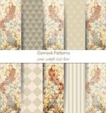 Damask patterns set collection Vector. Classic ornament various colors with abstract background textures. Vintage decors. Damask patterns set collection Vector Royalty Free Stock Photography