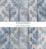 Damask patterns set collection Vector. Classic ornament various colors with abstract background textures. Vintage decors. Damask patterns set collection Vector stock illustration