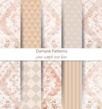 Damask patterns set collection Vector. Classic ornament various colors with abstract background textures. Vintage decors. Damask patterns set collection Vector royalty free illustration