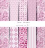 Damask patterns set collection Vector. Classic ornament various colors with abstract background textures. Vintage decors. Trendy color fabric texture royalty free illustration