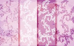 Damask patterns set Vector. Baroque ornament decor. Vintage background. Pink colors fabric textures. Damask patterns set Vector. Baroque ornament decor. Vintage royalty free illustration