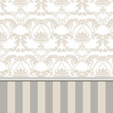 Damask Royal ornament pattern in English vintage Victorian style. Molding border and stripes. Luxury texture for wallpaper, wedding invitations, greeting cards Royalty Free Stock Image