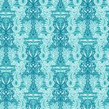 Sealife damask seahorse pattern. Seamless vector ocean background. Hand drawn seaweed algae nature all over print. For summer. Damask seahorse pattern. Seamless vector illustration
