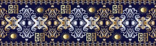 Damask seamless border pattern with greek key ornaments. Border seamless meander pattern. Floral dark blue vector meander background. Gold silver hand drawn vector illustration