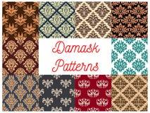 Damask seamless decoration patterns set. Damask floral backgrounds set. Vector flowery seamless decoration of ornate decorative flowers with flourish luxury Stock Photos