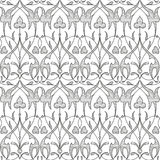 Damask seamless floral pattern black background Stock Photos