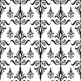 Damask seamless floral pattern. Royal wallpaper. Flowers and crowns in black on white background Stock Image