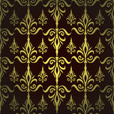 Damask seamless floral pattern. Royal wallpaper. Flowers and crowns on a dark background. EPS 10 Stock Illustration