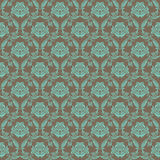 Damask seamless floral pattern. Royal wallpaper. Floral ornaments on a brown background. Vector illustration Stock Images