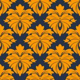 Damask seamless pattern in blue and orange Royalty Free Stock Photo