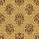 Vintage background with damask pattern in retro style. Damask seamless pattern for design. Vector Illustration royalty free illustration