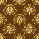 Damask seamless pattern gold. Vintage Vector Illustration