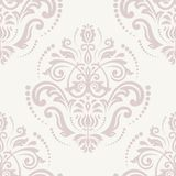 Damask Seamless Pattern. Orient Pink Background. Damask floral pattern with arabesque and oriental pink elements. Seamless abstract traditional ornament for stock illustration