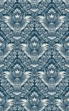 Damask seamless pattern with owl silhouette. Vintage repeating background. Floral ornament of blue tones in baroque style.  vector illustration