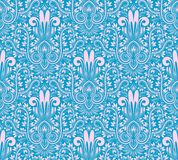 Damask seamless pattern repeating background. Pink blue floral ornament in baroque style.  royalty free illustration