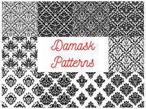 Damask seamless pattern set for wallpaper design. Floral damask black and white seamless pattern. Damask flower and leaf arabesque ornament for wallpaper Royalty Free Stock Image