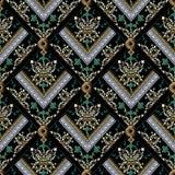 Damask seamless pattern. Vector black floral background. Baroque. Wallpaper. Vintage flowers, leaves, meander, greek key ornamental stripes, frames, zigzag stock illustration