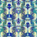 Damask seamless pattern. Vector floral colorful background wall. Paper with vintage flowers, scroll leaves, abstract modern ornaments in baroque style. Trendy stock illustration