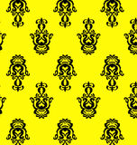 Damask seamless pattern. Vector vintage damask seamless pattern on the yellow backgrund Stock Illustration