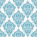 Damask seamless pattern on wood Stock Image
