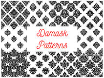 Damask seamless patterns with floral motif Royalty Free Stock Photos