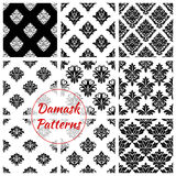 Damask seamless patterns of floral ornate tracery Royalty Free Stock Photos