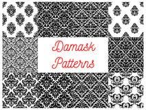 Damask seamless patterns set. Floral background. Damask patterns. Vector floral ornamental and ornate backgrounds set. Flourish motif seamless decor tiles Royalty Free Stock Image