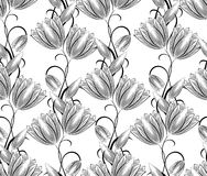 Damask seamless vector background on white Royalty Free Stock Image